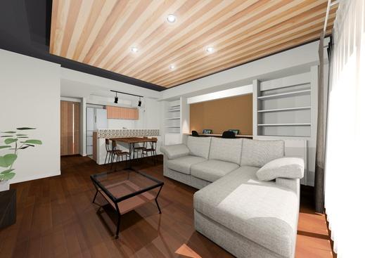 木の板を天井 に貼り、 温もりのある、落ち着いた雰囲気 にします。      現在の現場  の様子です。   既設の壁を撤去 し、 新しく壁 を作っています。