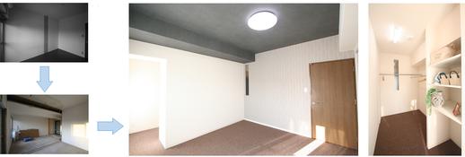 黒とグレーのアクセントクロスで落ち着いた空間を演出しました。    寝室にはクローゼットと別に約3.2帖のウォークインクローゼットがあります。    季節によって服を入れ替えることはもちろん、    旦那様と奥様それぞれにクローゼットがほしいなという方にもおすすめです。      ~玄関ホール~