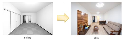明るい新色の床材と白いクロスで清潔感のある広々とした空間になりました。    白い壁に紺の建具とウエスタンレッドシダーの無垢材がよく映えます☆    カーペットからフローリングへ変えたので、掃除がしやすくなりました!      ~サンルーム~